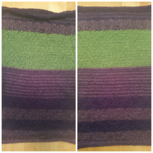 Pattern: 3 Color Cashmere Cowl by Joji Locateli Yarn: Malabrigo Silkpaca (Sapphire Green, Violetas, Purple Mystery)